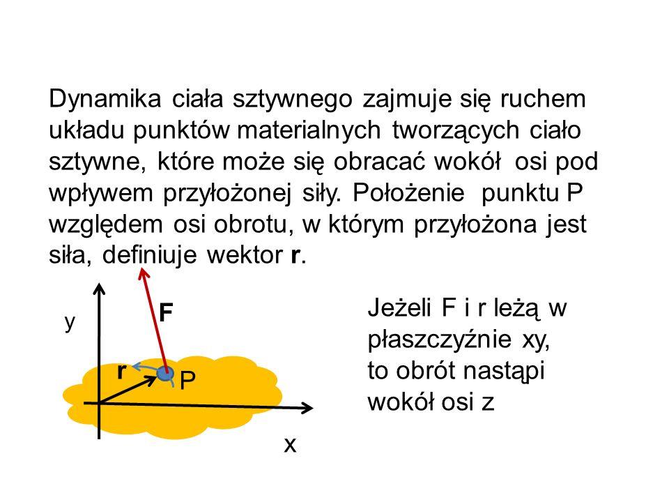 Moment bezwładności I W dynamice ruchu obrotowego (obrót ciała sztywnego) masę ciała zastępujemy układem elementów masy m i rozłożonych w przestrzeni, odległych o r i od wybranej osi obrotu – zastępujemy sumą iloczynów pomnożonych przez kwadrat odległości.