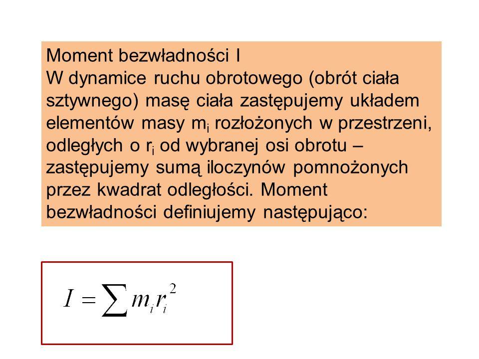 Moment bezwładności I W dynamice ruchu obrotowego (obrót ciała sztywnego) masę ciała zastępujemy układem elementów masy m i rozłożonych w przestrzeni,
