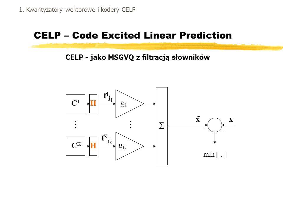 CELP – Code Excited Linear Prediction gKgK g1g1 x ~ x + _ min ||. || …… C1C1 CKCK f1j1f1j1 H fKjKfKjK H 1. Kwantyzatory wektorowe i kodery CELP CELP -
