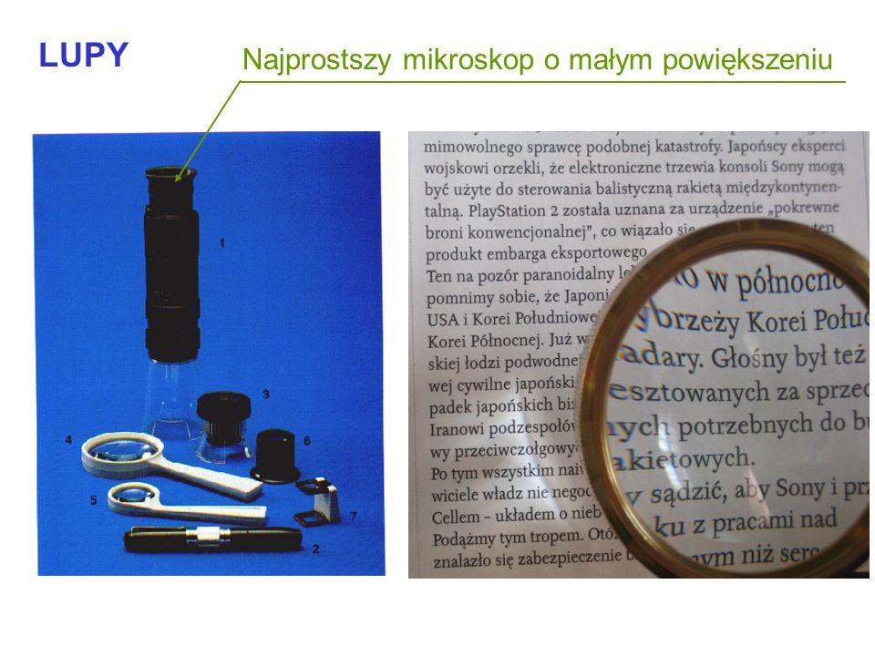 Przyrządy Powiększenie wizualne Lupa Mikroskop w l w 250 Przedmiot Nośnik F l f Ob Ok lupa Nośnik f ok Przedmiot Obraz dany przez obiektyw -w Powiększ
