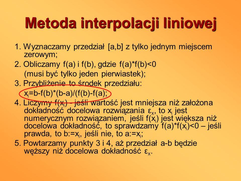 Metoda interpolacji liniowej 1. Wyznaczamy przedział [a,b] z tylko jednym miejscem zerowym; 2. Obliczamy f(a) i f(b), gdzie f(a)*f(b)<0 (musi być tylk