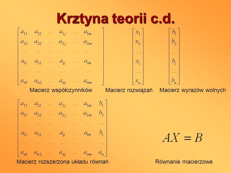 Krztyna teorii c.d. Macierz współczynników Macierz rozwiązań Macierz wyrazów wolnych Macierz rozszerzona układu równańRównanie macierzowe
