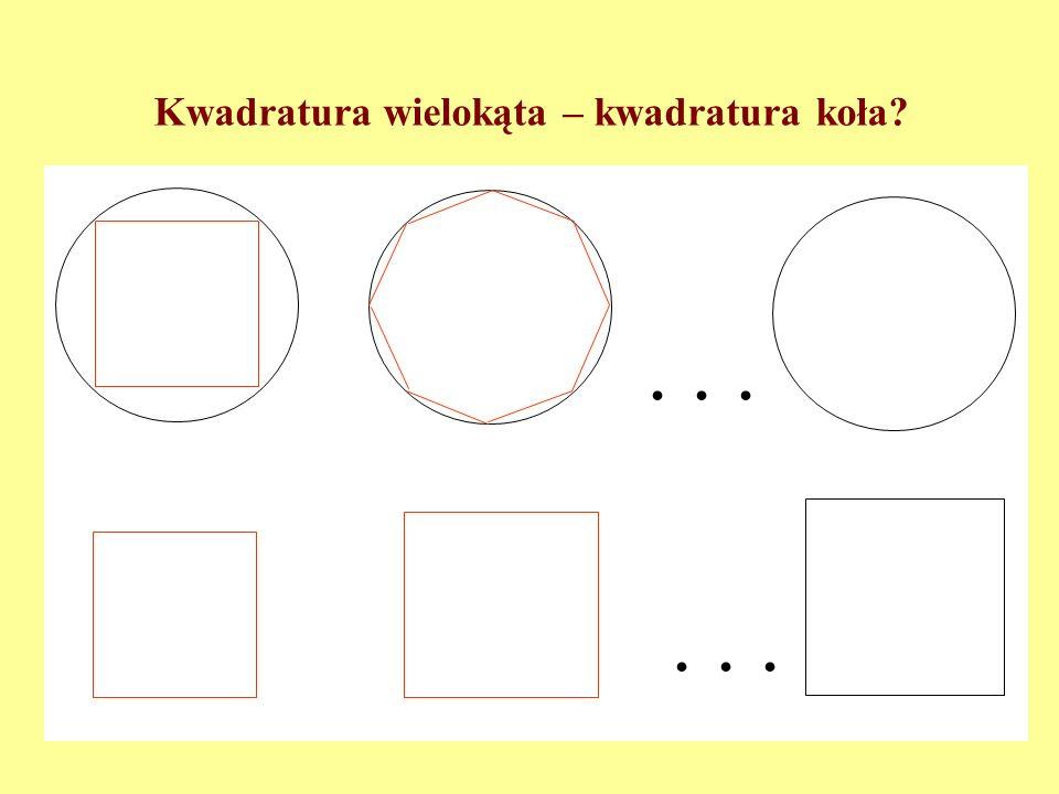 Twierdzenie (F. Bolyai (1832), P. Gerwien (1833)) Dwa wielokąty są równoważne przez pocięcie wtedy i tylko wtedy, gdy mają równe pola. Dowód: Własnośc