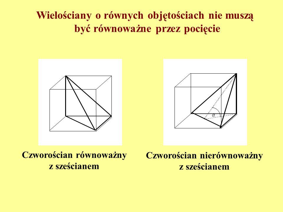 Mając dwa czworościeny równej objętości zresztą najogólniejsze, pociąć, jeżeli da się to wykonać, płaszczyznami jeden z nich na najmniejszą możliwą li
