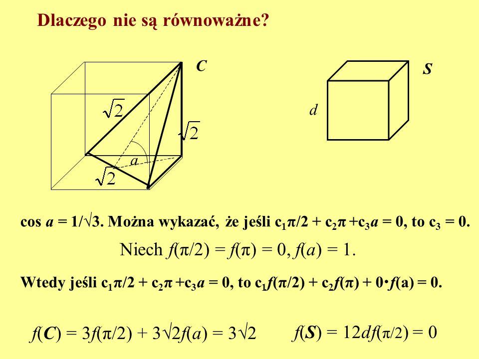 Jedno twierdzenie (H. Hadwiger, 1954) Niech a 1, a 2, …, a k – kąty dwuścienne wielościanu W, b 1, b 2, …, b m - kąty dwuścienne wielościanu V. Jeśli