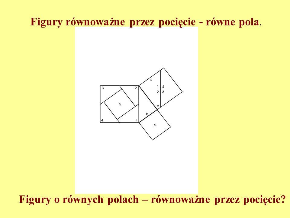 Cechy funkcji pola (miary): 1. Dla każdej figury można określić jej pole. 2. Figury przystające mają równe pola. 3. Jeśli figura A rozkłada się na fig