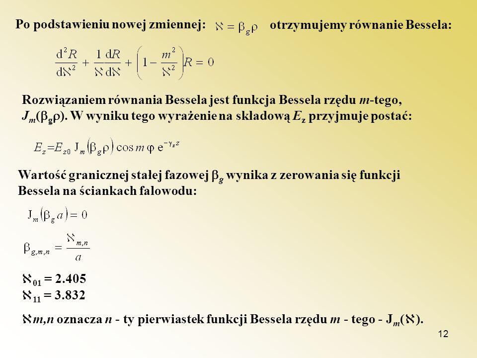12 Po podstawieniu nowej zmiennej: otrzymujemy równanie Bessela: Rozwiązaniem równania Bessela jest funkcja Bessela rzędu m-tego, J m ( g ). W wyniku