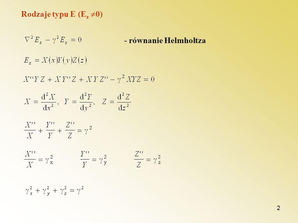 2 Rodzaje typu E (E z 0) - równanie Helmholtza