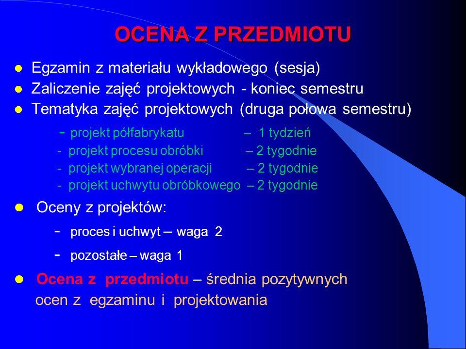 OCENA Z PRZEDMIOTU l Egzamin z materiału wykładowego (sesja) l Zaliczenie zajęć projektowych - koniec semestru l Tematyka zajęć projektowych (druga po