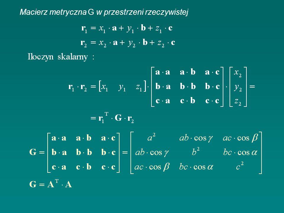 Macierz metryczna G w przestrzeni rzeczywistej