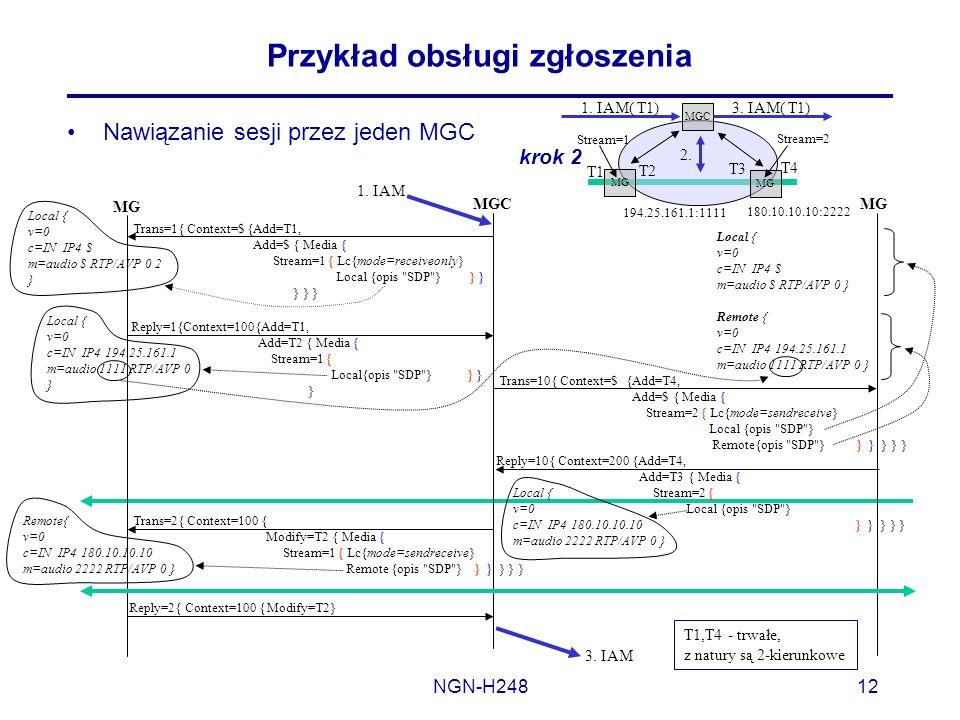 NGN-H24812 Przykład obsługi zgłoszenia Nawiązanie sesji przez jeden MGC MGCMG Trans=1{ Context=$ {Add=T1, Add=$ { Media { Stream=1 { Lc{mode=receiveon