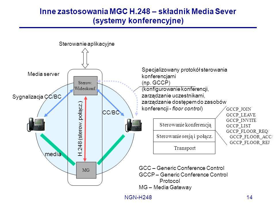 NGN-H24814 Inne zastosowania MGC H.248 – składnik Media Sever (systemy konferencyjne) Sterow. Wideokonf. MG media Sygnalizacja CC/BC H.248 (sterow. po