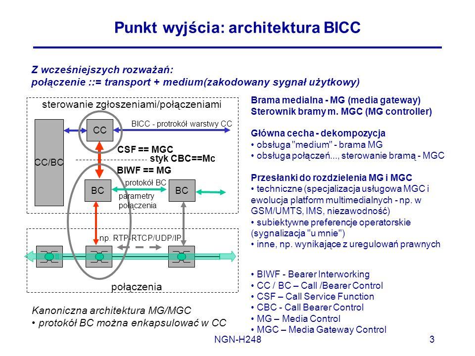 NGN-H2483 Punkt wyjścia: architektura BICC Z wcześniejszych rozważań: połączenie ::= transport + medium(zakodowany sygnał użytkowy) Brama medialna - M