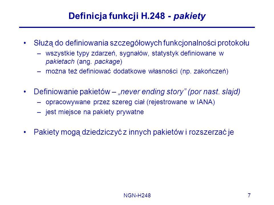 NGN-H2487 Definicja funkcji H.248 - pakiety Służą do definiowania szczegółowych funkcjonalności protokołu –wszystkie typy zdarzeń, sygnałów, statystyk