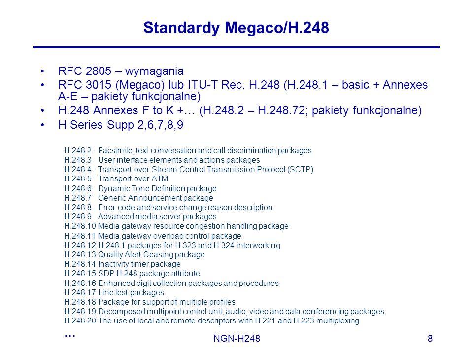 NGN-H2488 Standardy Megaco/H.248 RFC 2805 – wymagania RFC 3015 (Megaco) lub ITU-T Rec. H.248 (H.248.1 – basic + Annexes A-E – pakiety funkcjonalne) H.