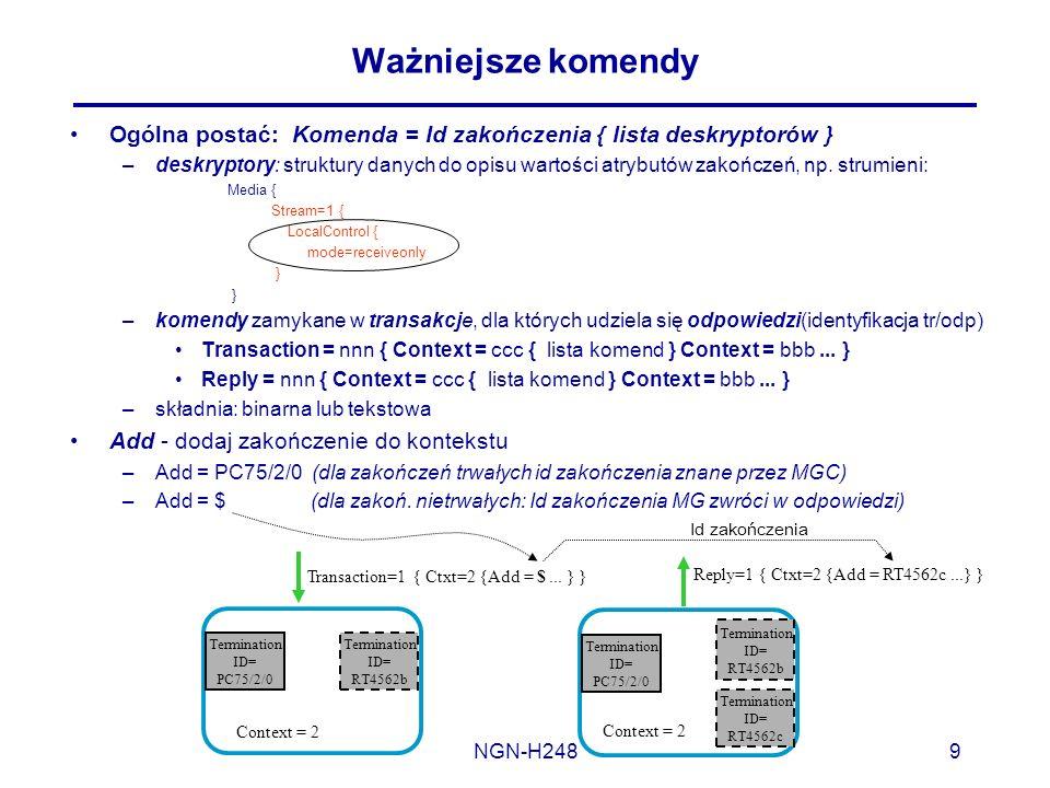 NGN-H2489 Ważniejsze komendy Ogólna postać: Komenda = Id zakończenia { lista deskryptorów } –deskryptory: struktury danych do opisu wartości atrybutów