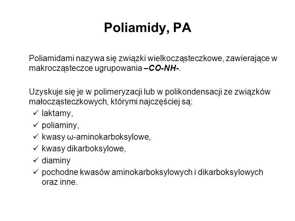 Poliamidy, PA Poliamidami nazywa się związki wielkocząsteczkowe, zawierające w makrocząsteczce ugrupowania –CO-NH-. Uzyskuje się je w polimeryzacji lu