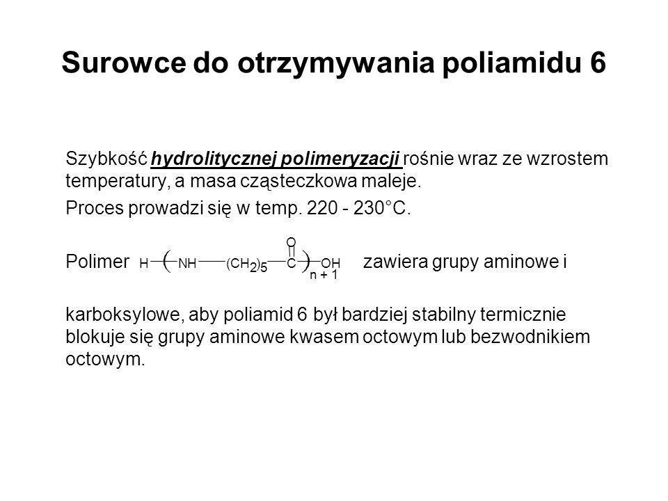 Surowce do otrzymywania poliamidu 6 Szybkość hydrolitycznej polimeryzacji rośnie wraz ze wzrostem temperatury, a masa cząsteczkowa maleje. Proces prow