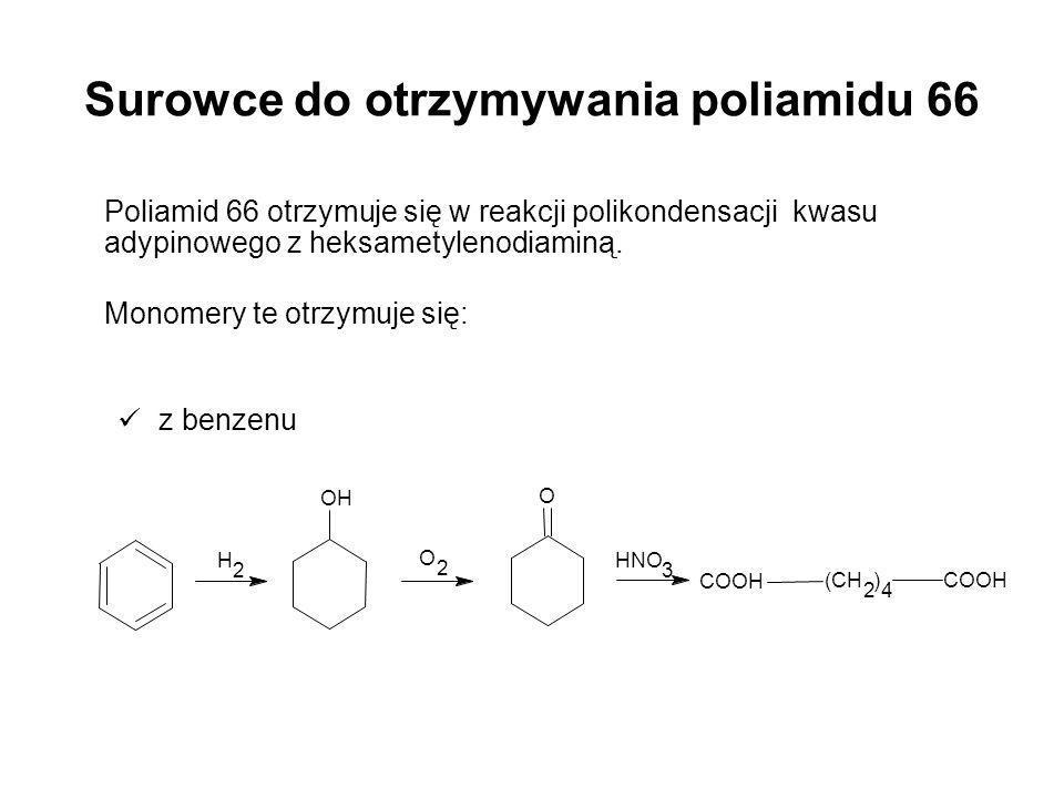 Surowce do otrzymywania poliamidu 66 Poliamid 66 otrzymuje się w reakcji polikondensacji kwasu adypinowego z heksametylenodiaminą. Monomery te otrzymu