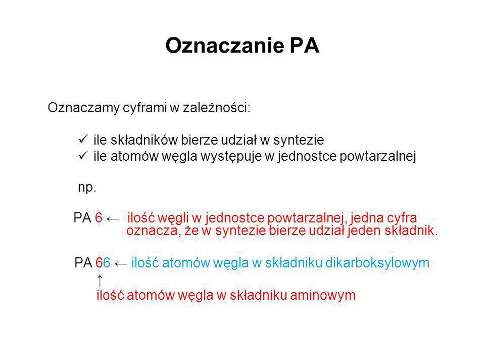 Oznaczanie PA Oznaczamy cyframi w zależności: ile składników bierze udział w syntezie ile atomów węgla występuje w jednostce powtarzalnej np. PA 6 ilo