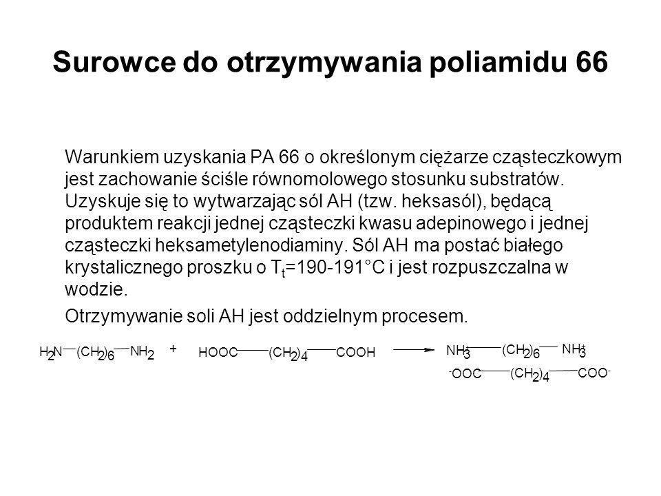 Surowce do otrzymywania poliamidu 66 Warunkiem uzyskania PA 66 o określonym ciężarze cząsteczkowym jest zachowanie ściśle równomolowego stosunku subst