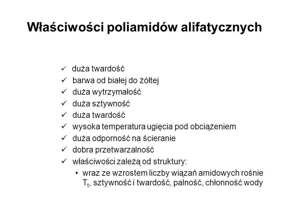 Właściwości poliamidów alifatycznych duża twardość barwa od białej do żółtej duża wytrzymałość duża sztywność duża twardość wysoka temperatura ugięcia