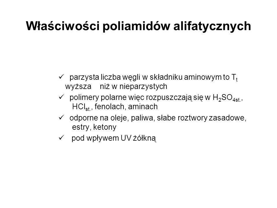 Właściwości poliamidów alifatycznych parzysta liczba węgli w składniku aminowym to T t wyższa niż w nieparzystych polimery polarne więc rozpuszczają s