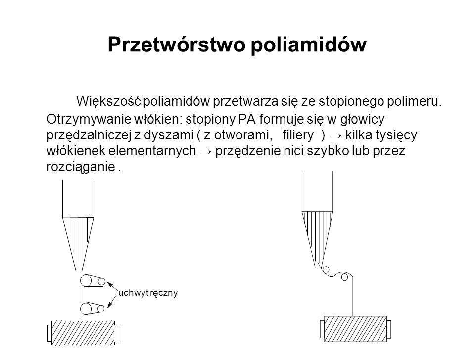 Przetwórstwo poliamidów Większość poliamidów przetwarza się ze stopionego polimeru. Otrzymywanie włókien: stopiony PA formuje się w głowicy przędzalni