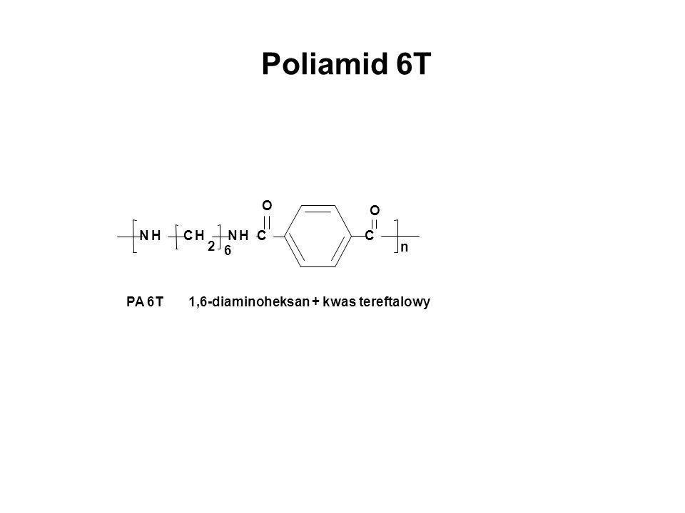 Poliamid 6T NHCH 2 n NHC O C O 6 PA 6T 1,6-diaminoheksan + kwas tereftalowy