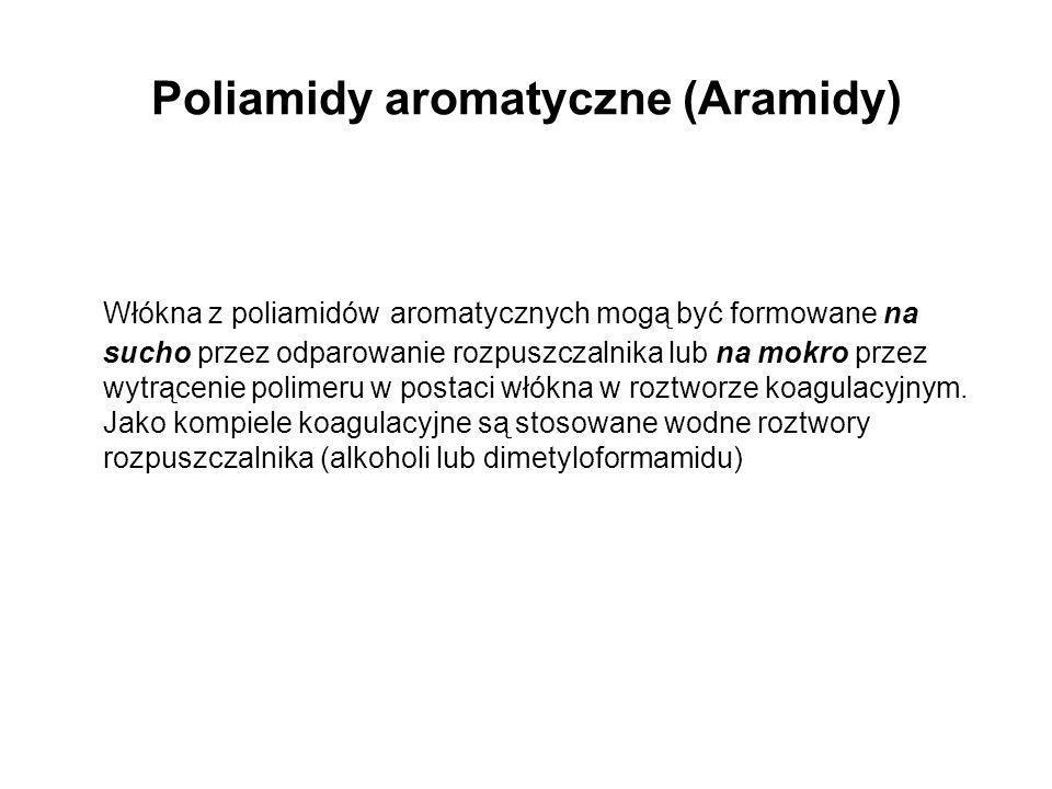 Poliamidy aromatyczne (Aramidy) Włókna z poliamidów aromatycznych mogą być formowane na sucho przez odparowanie rozpuszczalnika lub na mokro przez wyt