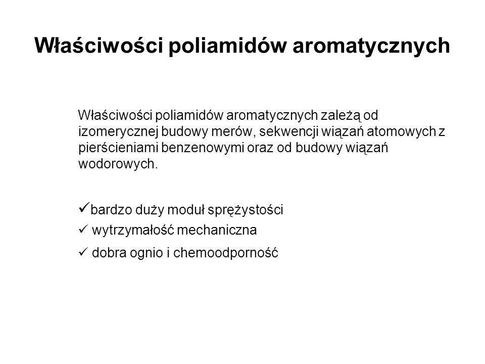 Właściwości poliamidów aromatycznych Właściwości poliamidów aromatycznych zależą od izomerycznej budowy merów, sekwencji wiązań atomowych z pierścieni