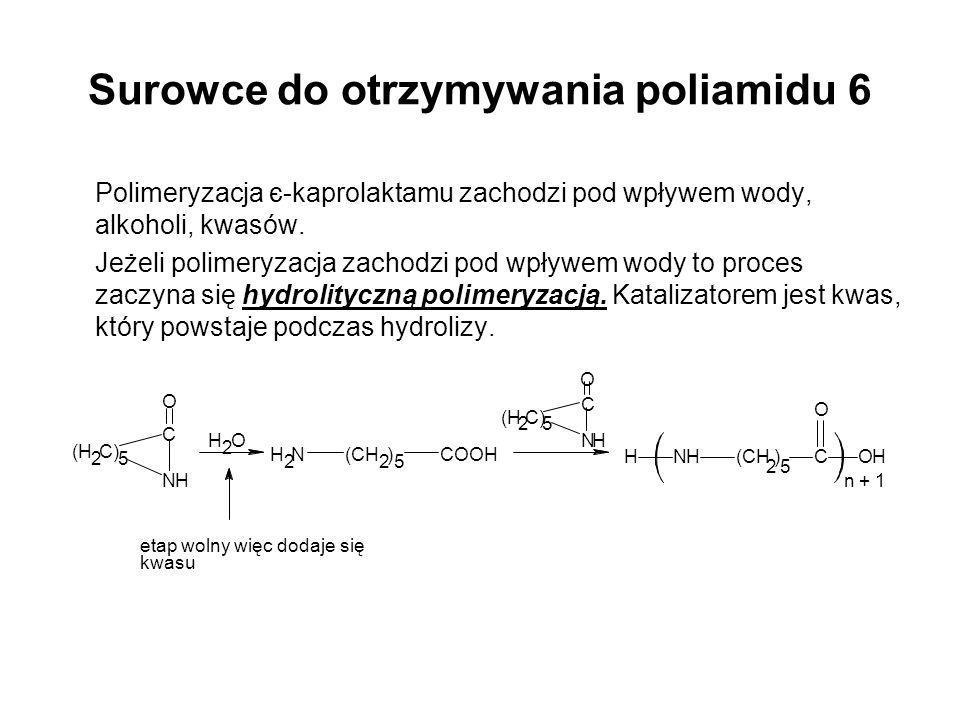 Surowce do otrzymywania poliamidu 6 Polimeryzacja є-kaprolaktamu zachodzi pod wpływem wody, alkoholi, kwasów. Jeżeli polimeryzacja zachodzi pod wpływe