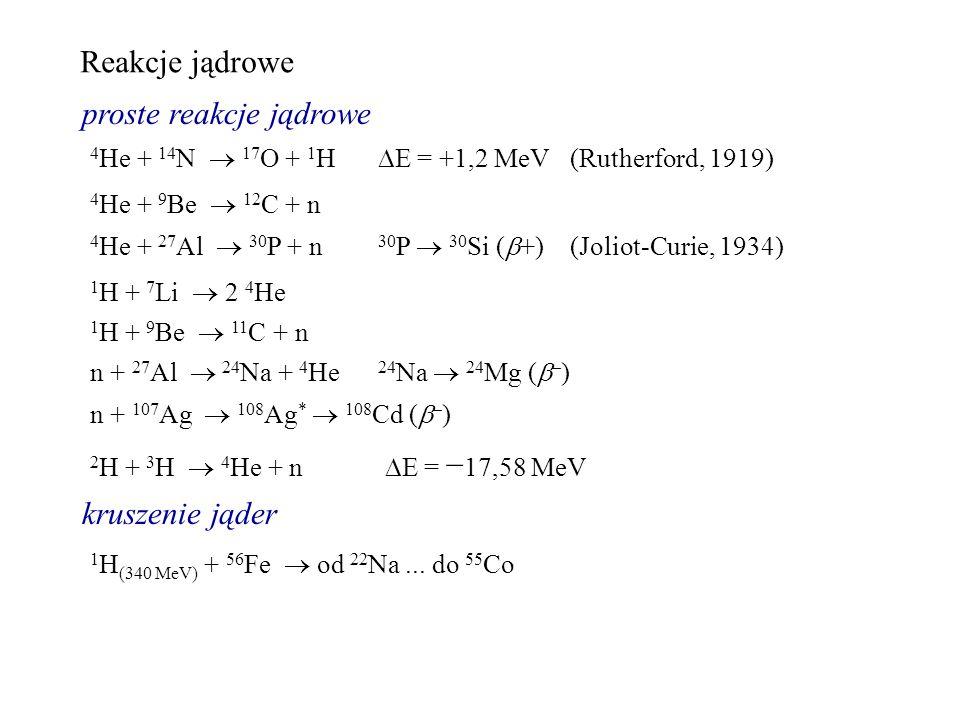 Reakcje jądrowe proste reakcje jądrowe 4 He + 14 N 17 O + 1 H E = +1,2 MeV(Rutherford, 1919) 1 H + 7 Li 2 4 He 4 He + 27 Al 30 P + n 30 P 30 Si ( +) (