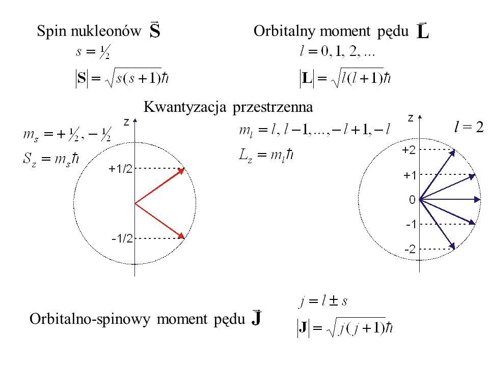 Spin nukleonów Kwantyzacja przestrzenna Orbitalny moment pędu Orbitalno-spinowy moment pędu l = 2