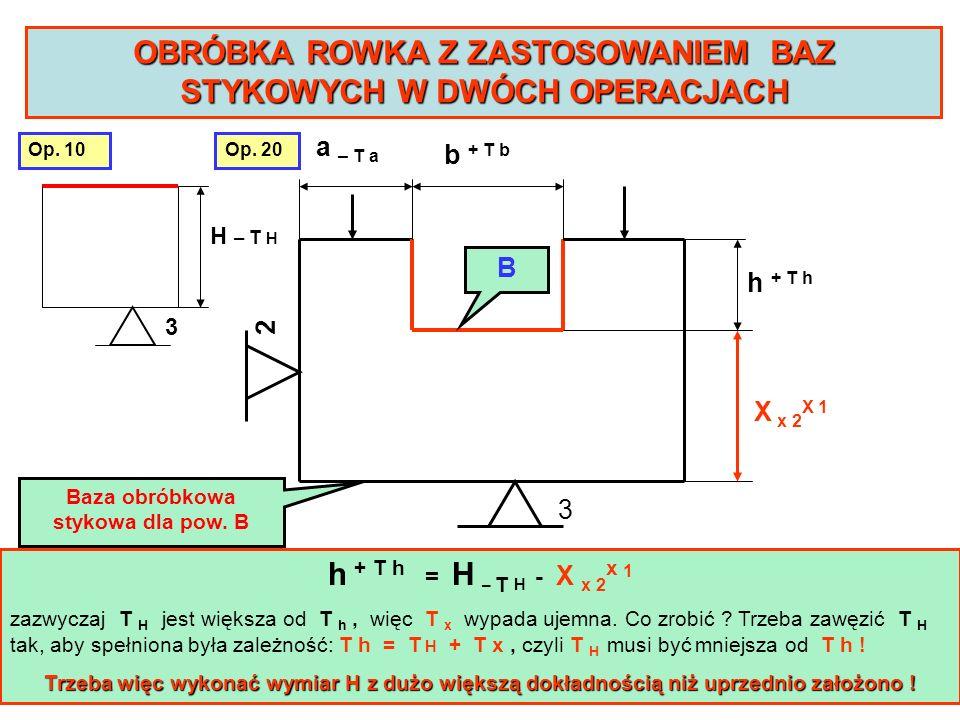INNY PRZYKŁAD BAZY SPRZĘŻONEJ jednoczesna obróbka zespołu otworów Baza stykowa dla otworu 1 Baza sprzężona dla otworu 2 12 AB C Baza stykowa dla otworów 1 i 2 Zamocowanie