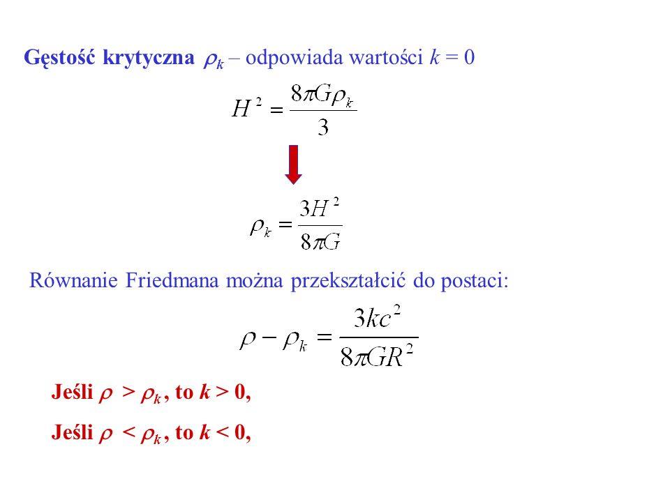 Gęstość krytyczna k – odpowiada wartości k = 0 Równanie Friedmana można przekształcić do postaci: Jeśli > k, to k > 0, Jeśli < k, to k < 0,