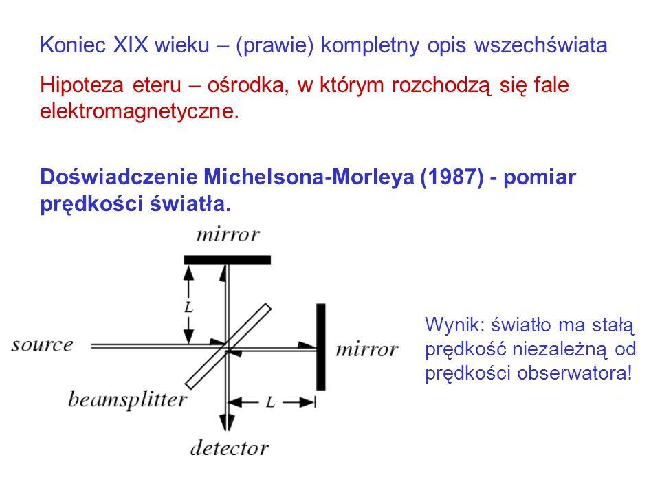 1905 – Szczególna Teoria Względności: Istotny jest tylko ruch względny Skoro nie można stwierdzić, że ktoś się porusza w przestrzeni, to pojęcie eteru zbędne Prawa fizyki są jednakowe w każdym układzie inercjalnym, w szczególności prędkość światła jest stała