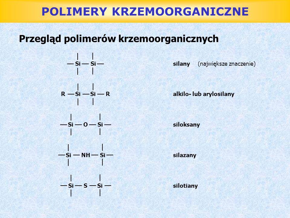 POLIMERY KRZEMOORGANICZNE Syntezę wielkocząsteczkowych związków krzemoorganicznych prowadzi się w 2 etapach: 1.Otrzymywanie monomeru 2.Polikondensacja lub polimeryzacja Monomery: alkilo(arylo)chlorosilany Monomery pomocnicze: winylochlorosilany cyjanoetylosilany metylochlorosilany metylofenylosilany fenylochlorosilany Alkilo(arylo)chlorany dzielą się na: jednofunkcyjne R 3 SiCl dwufunkcyjne R 2 SiCl 2 trójfunkcyjne RSiCl 3 Są to bezbarwne ciecze o ostrym zapachu, który pochodzi od chlorowodoru wydzielającego się wskutek ich hydrolizy pod wpływem wilgoci z powietrza.