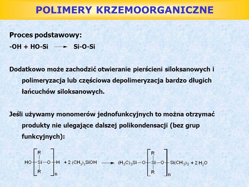 POLIMERY KRZEMOORGANICZNE Proces podstawowy: -OH + HO-Si Si-O-Si Dodatkowo może zachodzić otwieranie pierścieni siloksanowych i polimeryzacja lub częś