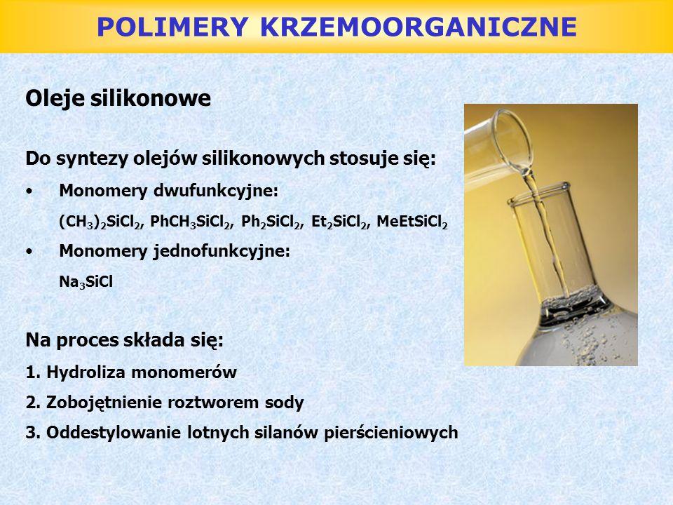 POLIMERY KRZEMOORGANICZNE Oleje silikonowe Do syntezy olejów silikonowych stosuje się: Monomery dwufunkcyjne: (CH 3 ) 2 SiCl 2, PhCH 3 SiCl 2, Ph 2 Si