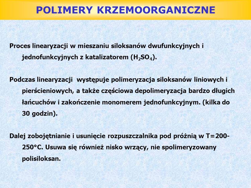 POLIMERY KRZEMOORGANICZNE Proces linearyzacji w mieszaniu siloksanów dwufunkcyjnych i jednofunkcyjnych z katalizatorem (H 2 SO 4 ). Podczas linearyzac