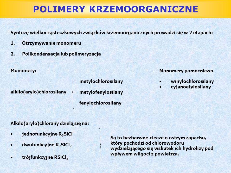 POLIMERY KRZEMOORGANICZNE Syntezę wielkocząsteczkowych związków krzemoorganicznych prowadzi się w 2 etapach: 1.Otrzymywanie monomeru 2.Polikondensacja