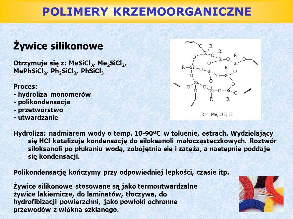 POLIMERY KRZEMOORGANICZNE Żywice silikonowe Otrzymuje się z: MeSiCl 3, Me 2 SiCl 2, MePhSiCl 2, Ph 2 SiCl 2, PhSiCl 3 Proces: - hydroliza monomerów -