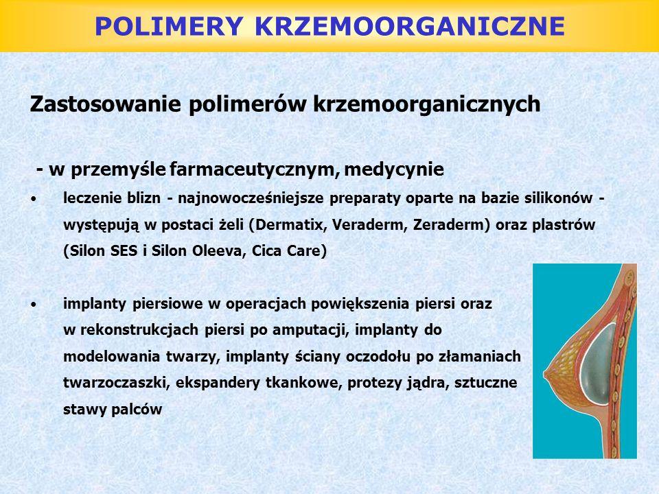 POLIMERY KRZEMOORGANICZNE Zastosowanie polimerów krzemoorganicznych - w przemyśle farmaceutycznym, medycynie leczenie blizn - najnowocześniejsze prepa