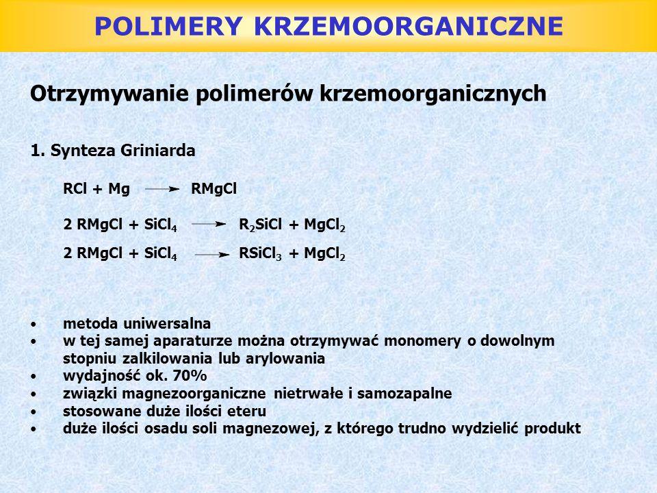 POLIMERY KRZEMOORGANICZNE Żywice silikonowe Otrzymuje się z: MeSiCl 3, Me 2 SiCl 2, MePhSiCl 2, Ph 2 SiCl 2, PhSiCl 3 Proces: - hydroliza monomerów - polikondensacja - przetwórstwo - utwardzanie Hydroliza: nadmiarem wody o temp.