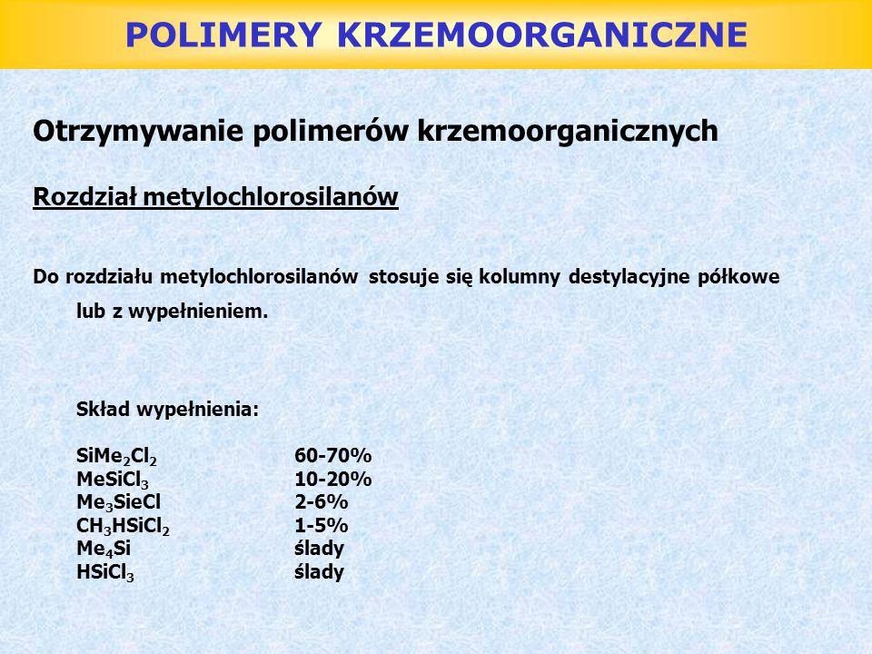 POLIMERY KRZEMOORGANICZNE Otrzymywanie polimerów krzemoorganicznych Rozdział metylochlorosilanów Do rozdziału metylochlorosilanów stosuje się kolumny