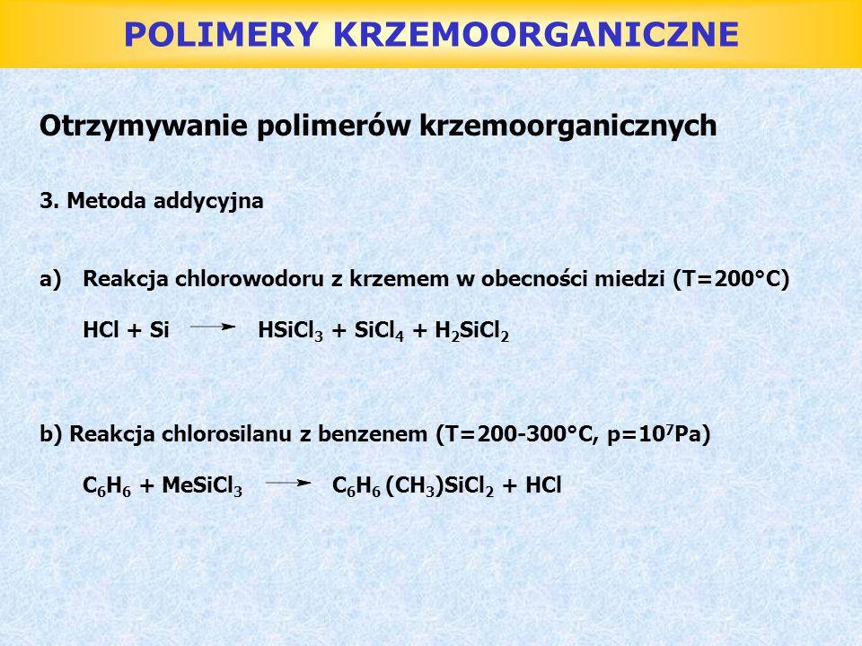 POLIMERY KRZEMOORGANICZNE Otrzymywanie polimerów krzemoorganicznych Inne metody: Przyłączanie wodorochlorosilanów do węglowodorów nienasyconych HCl + Si HSiCl 3 + SiCl 4 + H 2 SiCl 2 Kondensacja wodorochlorosilanów z chlorkami organicznymi w fazie gazowej RCl + HSiR n Cl 3-n RR n SiCl 3-n\ - HCl