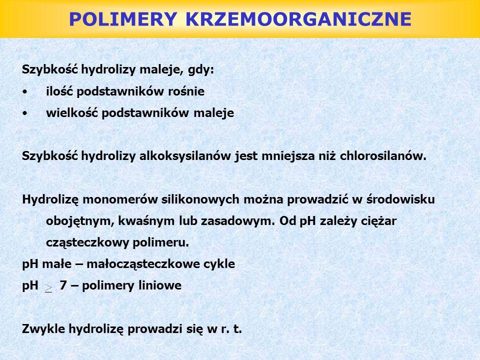 POLIMERY KRZEMOORGANICZNE Smary silikonowe Zastosowanie: - uszczelnianie szlifów aparatury chemicznej - smary przeznaczone do użycia w wysokich temperaturach - smary stosowane do łożysk w mostach - w przemyśle spożywczym (smar do kurków piwnych)