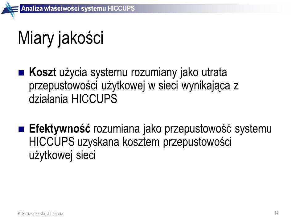 14 K.Szczypiorski, J.Lubacz Miary jakości Koszt użycia systemu rozumiany jako utrata przepustowości użytkowej w sieci wynikająca z działania HICCUPS E