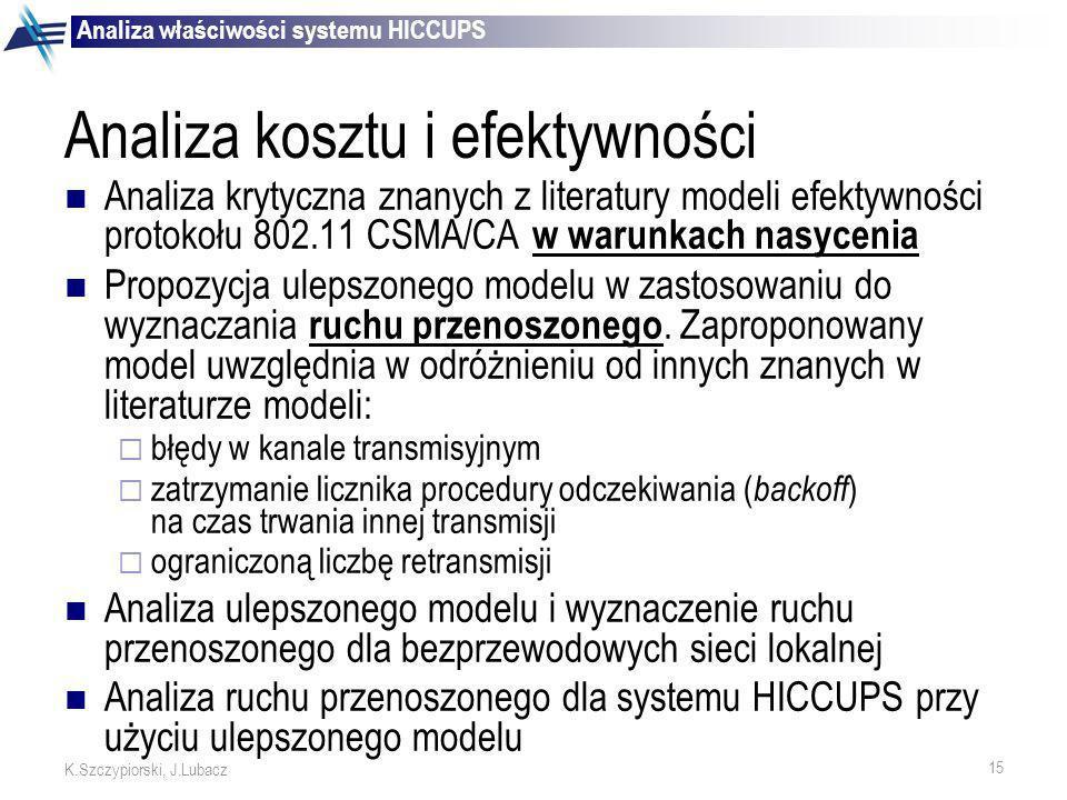 15 K.Szczypiorski, J.Lubacz Analiza kosztu i efektywności Analiza krytyczna znanych z literatury modeli efektywności protokołu 802.11 CSMA/CA w warunk